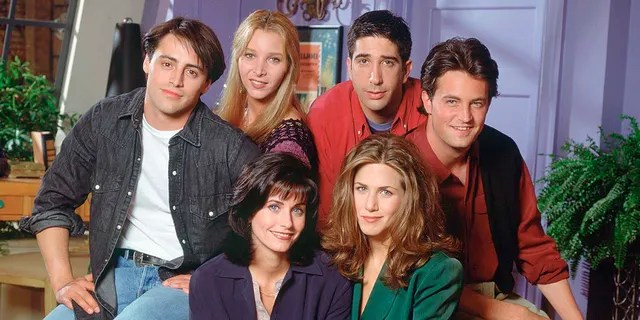 The cast of 'Friends' is seen pictured in Season 1 (clockwise from bottom left) Courteney Cox Arquette as Monica Geller, Matt LeBlanc as Joey Tribbiani, Lisa Kudrow as Phoebe Buffay, David Schwimmer as Ross Geller, Matthew Perry as Chandler Bing, Jennifer Aniston as Rachel Green. (Photo by Reisig & Taylor/NBCU Photo Bank/NBCUniversal via Getty Images via Getty Images)