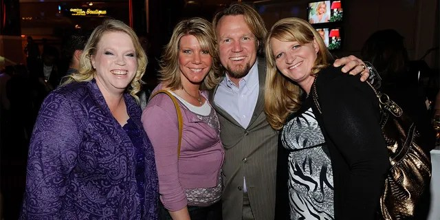 (L-R) Janelle Brown, Meri Brown, Kody Brown and Christine Brown from 'Sister Wives' attend a pre-show reception for the grand opening of 'Dancing With the Stars: Live' in Las Vegas. Kody and his four wives share a combined 18 children.