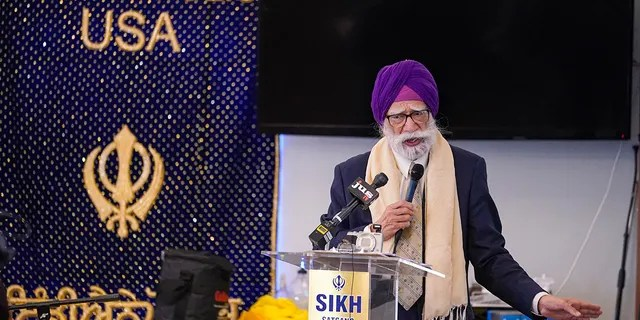 K.P. Singh speaks to members of the Sikh Coalition as they gather at the Sikh Satsang of Indianapolis in Indianapolis, Saturday, April 17, 2021. (Associated Press)