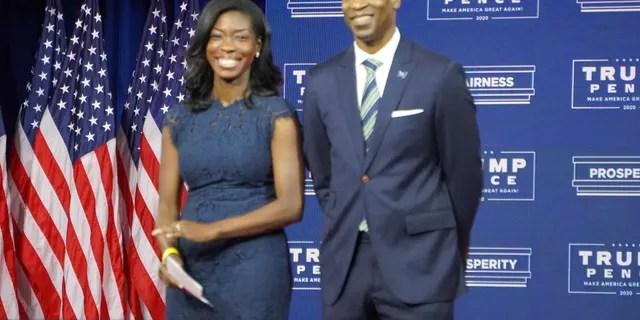 Georgia Republican Senate candidate Kelvin King and his wife, Janelle King, at a Trump campaign event at the Cobb Galleria in suburban Atlanta on Sept. 25, 2020.