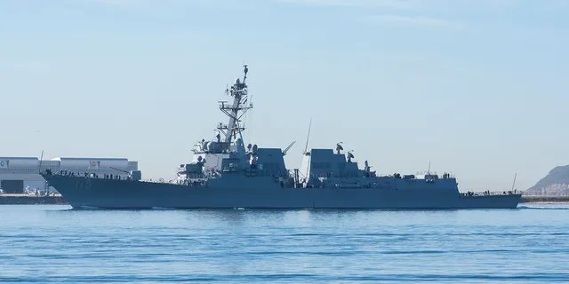 The USS Rafael Peralta, a highly advanced guided missile-destroyer, returns to San Diego in 2017 after testing at the Point Mugu test range.
