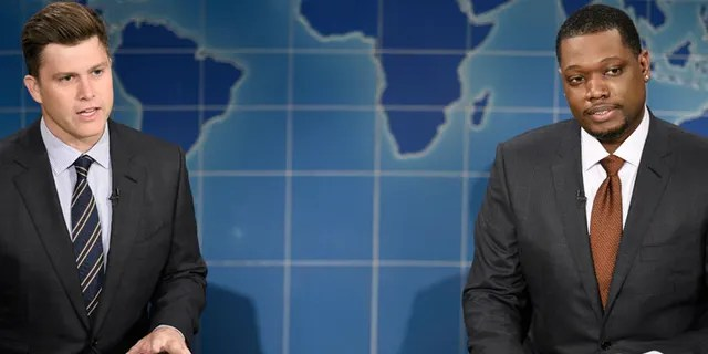 """SNL """"Weekend Update"""" anchors Colin Jost, left, and Michael Che. (Will Heath/NBC)"""