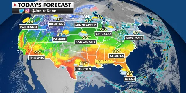 Warm temperatures are forecast across the South and the Gulf Coast for Monday, while it will be cooler than average parts of the Northern Plains and the Rockies.