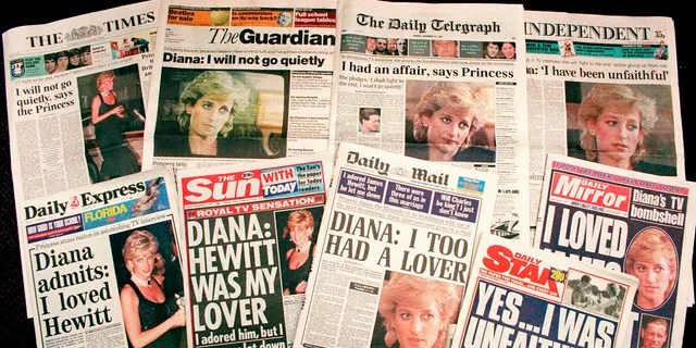 """In this Nov. 21, 1995 file photo a selection of front pages of most of Britain's national newspapers showing their reaction to Princess Diana's television interview with BBC journalist Martin Bashir. Prince William and his brother Prince Harry have issued strongly-worded statements criticizing the BBC and British media for unethical practices after an investigation found that Bashir used """"deceitful behavior"""" to secure Princess Diana's most explosive TV interview in 1995."""