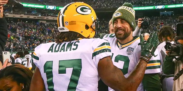 Green Bay Packers quarterback Aaron Rodgers (12) and Green Bay Packers wide receiver Davante Adams (17) after the National Football League match between the New York Jets and Green Bay Packers on December 23, 2018 at MetLife Stadium in East Rutherford, NJ.