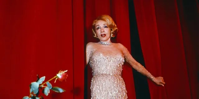 """German American actress and singer Marlene Dietrich at her last concert at """"Espace Cardin"""" theatre in Paris, France, in 1973."""