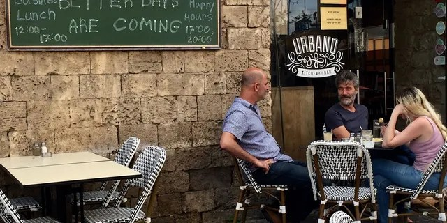 """""""In here, we are looking for peace. We want this to end,"""" one Arab Israeli man sitting at a café told Fox News. (Photo: Greg Palkot)"""