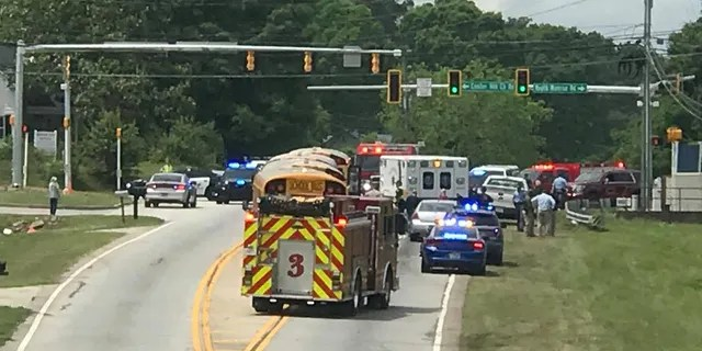 Rescue crews respond to the scene Wednesday in Walton County.