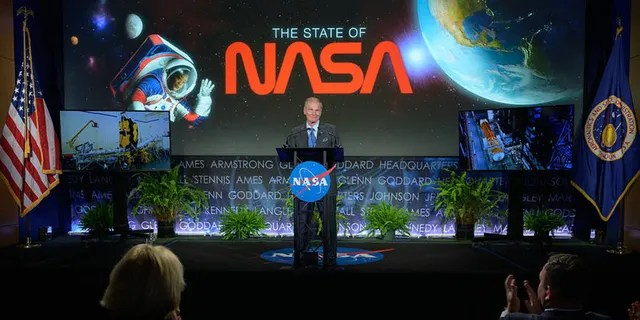 NASA Administrator Bill Nelson talks to the agency's workforce during his first State of NASA event Wednesday, June 2, 2021, at NASA Headquarters Mary W. Jackson Building in Washington. Nelson remarked on his long history with NASA, and among other topics, discussed the agency's plans for future Earth-focused missions to address climate change and a robotic and human return to the Moon through the Artemis program, as well as announcing two new planetary science missions to Venus – VERITAS and DAVINCI+. Photo Credit: (NASA/Bill Ingalls)