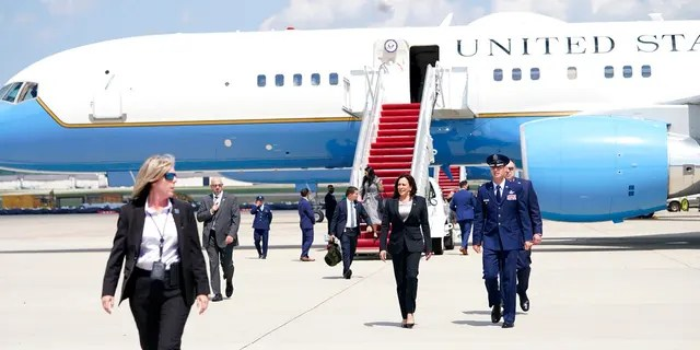 Vice President Kamala Harris deplanes Air Force Two after a technical issue forced the aircraft to return and land at Andrews Air Force Base, Md., Sunday, June 6, 2021, as she was en route to Guatemala City.