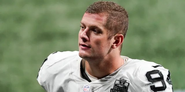 Las Vegas Raiders defensive end Carl Nassib leaves the field after a game against the Atlanta Falcons in Atlanta. Nassib became the first active NFL player to come out as gay.