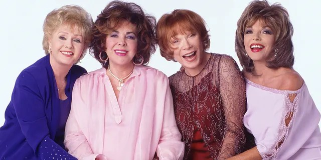 """The stars of """"These Old Broads,"""" from left, Debbie Reynolds, Elizabeth Taylor, Shirley MacLaine and Joan Collins."""