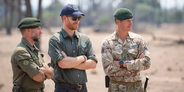 Prince Harry, Duke of Sussex watches an anti-poaching demonstration exercise conducted jointly by local rangers and UK military deployed on Operation CORDED at the Liwonde National Park during the royal tour of Africa on September 30, 2019, in Malawi.