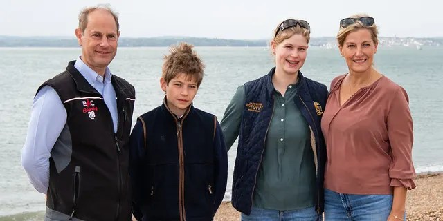 Prince Edward, Earl of Wessex, Sophie, Countess of Wessex, James, Viscount Severn and Lady Louise Windsor take part in the Great British Beach Clean on Southsea beach on September 20, 2020 in Portsmouth, England.