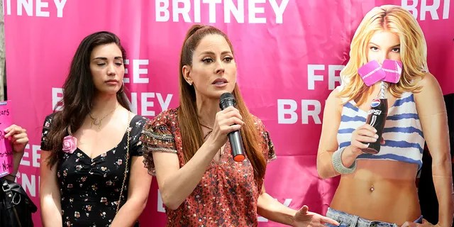 Kerri Kasem speaks during a #FreeBritney protest at Los Angeles Grand Park during a conservatorship hearing for Britney Spears on June 23, 2021, in Los Angeles, California.