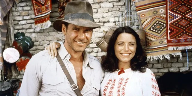 American actor Harrison Ford and actress Karen Allen on the set of 'Raiders of the Lost Ark.'
