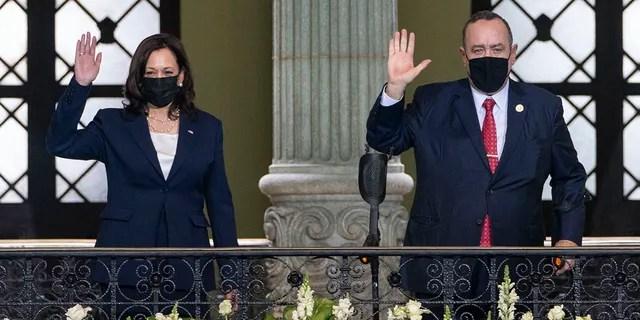 Vice President Kamala Harris and Guatemalan President Alejandro Giammattei are seen at the National Palace in Guatemala City, June 7, 2021.
