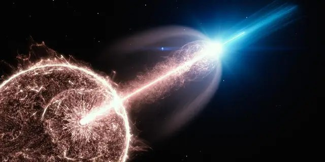 Artist's impression a star collapsing in on itself and emitting a gamma-ray burst.
