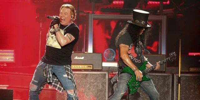 Guns N' Roses' Axl Rose, left, and Slash perform on the first weekend of the Austin City Limits Music Festival on Oct. 4, 2019, in Austin, Texas. The hard rock band has booked two dates at the Hard Rock casino in Atlantic City, N.J., Sept. 11 and 12.
