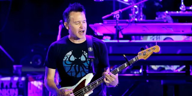 """Mark Hoppus of Blink-182 performs Oct. 27, 2017, during the """"Linkin Park & Friends Celebrate Life in Honor of Chester Bennington"""" concert at Hollywood Bowl in Los Angeles. (REUTERS/Mario Anzuoni)"""