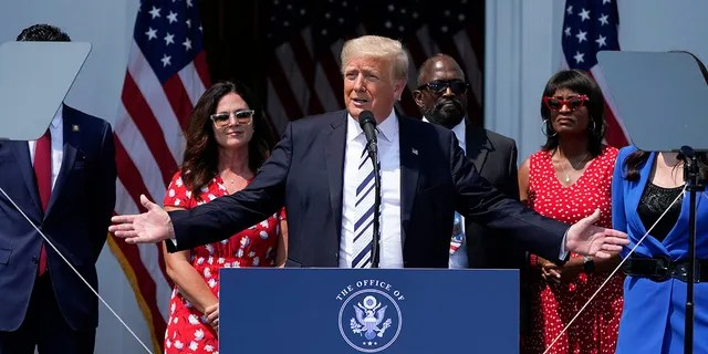Former President Donald Trump speaks at Trump National Golf Club in Bedminster, NJ, Wednesday, July 7, 2021. (AP Photo/Seth Wenig)