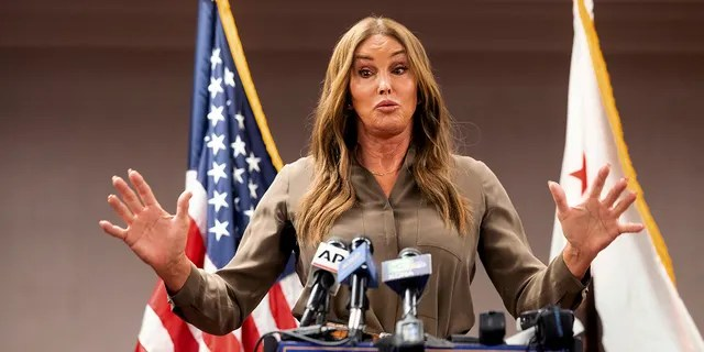 Caitlyn Jenner, Republican candidate for California governor, speaks during a news conference on Friday, July 9, 2021, in Sacramento, Calif. (AP Photo/Noah Berger)