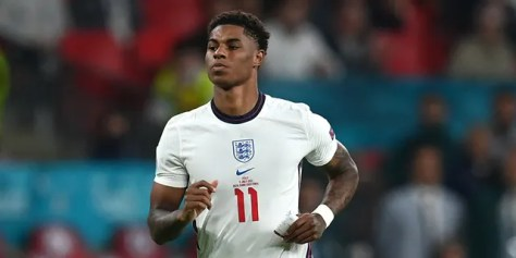 Marcus Rashford of England looks on during the UEFA Euro 2020 Championship Final between Italy and England at Wembley Stadium on July 11, 2021 in London, England.