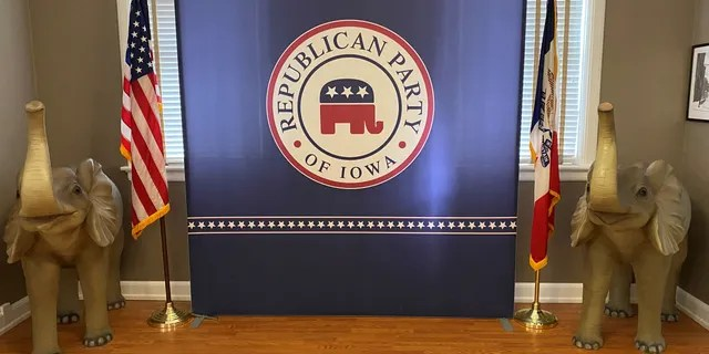 A display in a conference room at the Iowa GOP's headquarters, in Des Moines, Iowa on July 15. 2021.
