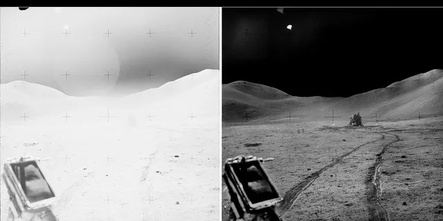 """A """"before and after"""" photo taken from the Lunar Roving Vehicle (LRV) showing the lunar module """"Falcon"""""""