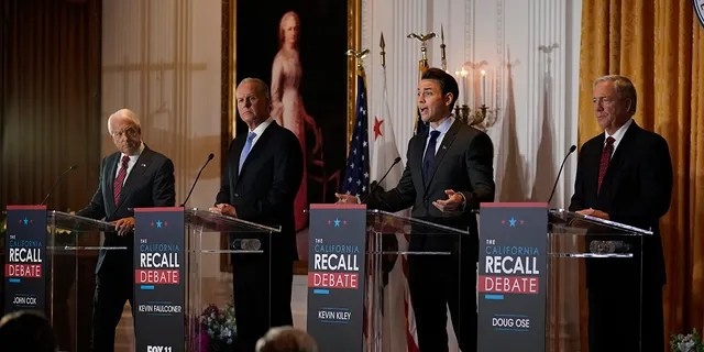 From left are California Republican gubernatorial candidates John Cox, Kevin Faulconer, Kevin Kiley and Doug Ose as they participate in a debate at the Richard Nixon Presidential Library in Yorba Linda, California, Aug. 4, 2021. (Associated Press)