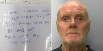 Alan Slattery, and the alleged note. (Sussex Police)