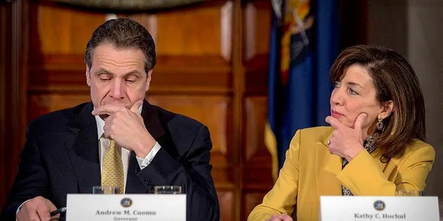 Former New York Gov. Andrew Cuomo, left, and then-Lt. Gov. Kathy Hochul during a cabinet meeting at the Capitol in Albany, N.Y., in 2015.