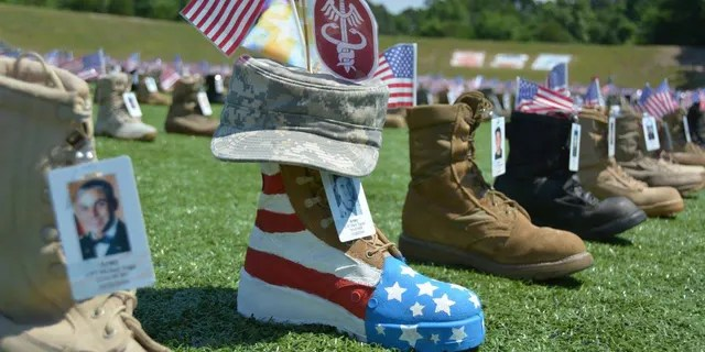 The memorial display of boots on Fort Bragg began in 2014 as a way to commemorate those who have given their all to their nation.