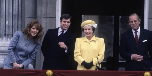 From left to right: Sarah Ferguson, Prince Andrew, Queen Elizabeth II and Prince Philip in 1986.
