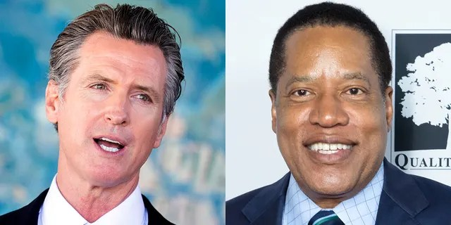 California Democratic Gov. Gavin Newsom and candidate Larry Elder, who is the current Republican frontrunner in the upcoming recall election.