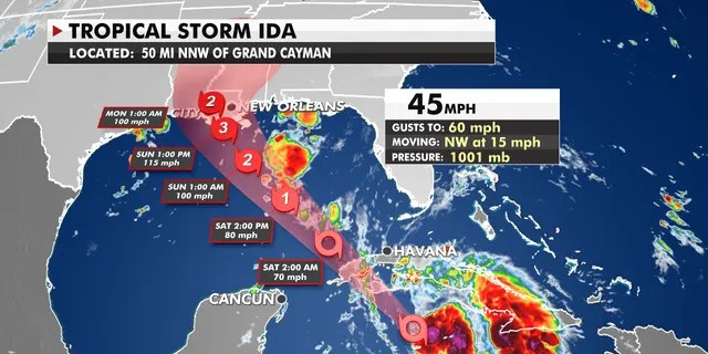 Tropical Storm Ida path as of Friday, August 27, 2021.