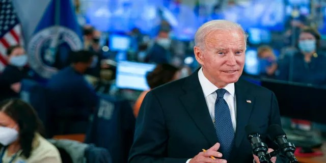 President Joe Biden speaks at the National Response Coordination Center at FEMA headquarters, Sunday, Aug. 29, 2021, in Washington. Hurricane Ida blasted ashore Sunday as one of the most powerful storms ever to hit the U.S.