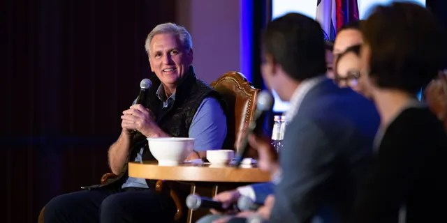 House GOP leader Rep Kevin McCarthy hosts a political retreat in Jackson Hole, Wyoming, on Tuesday August 17, 2021.