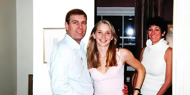 Photo from 2001 that was included in court files shows Prince Andrew with his arm around the waist of 17-year-old Virginia Giuffre who says Jeffrey Epstein paid her to have sex with the prince. Andrew has denied the charges. In the background is Epstein's girlfriend Ghislaine Maxwell.