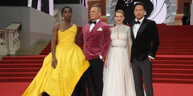 (L to R) Lashana Lynch, Daniel Craig, Lea Seydoux and director Cary Fukunaga attend the World Premiere of 'No Time To Die.'