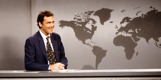 Norm Macdonald is seen during the 'Weekend Update' skit on 'SNL' back on April 12, 1997.