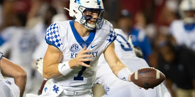 Kentucky quarterback Will Levis (7) holds the ball in the second half of an NCAA college football game against South Carolina, Saturday, Sept. 25, 2021, at Williams-Brice Stadium in Columbia, S.C.