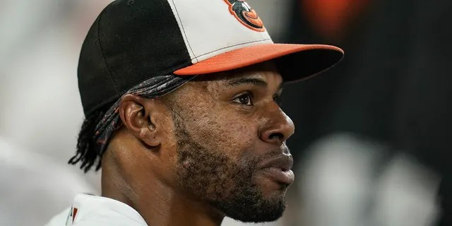 Baltimore Orioles center fielder Cedric Mullins looks on from the dugout after robbing a two-run home run off New York Yankees' Gary Sanchez during the second inning of a baseball game, Wednesday, Sept. 15, 2021, in Baltimore. (AP Photo/Julio Cortez)