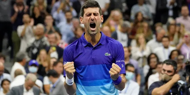 Novak Djokovic, of Serbia, reacts after defeating Alexander Zverev, of Germany, during the semifinals of the U.S. Open tennis championships, Friday, Sept. 10, 2021, in New York City. (Associated Press)