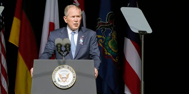 Former President George W. Bush speaks during a memorial for the passengers and crew of United Flight 93, Saturday Sept. 11, 2021, in Shanksville, Pa., on the 20th anniversary of the Sept. 11, 2001 attacks. (AP Photo/Jacquelyn Martin)