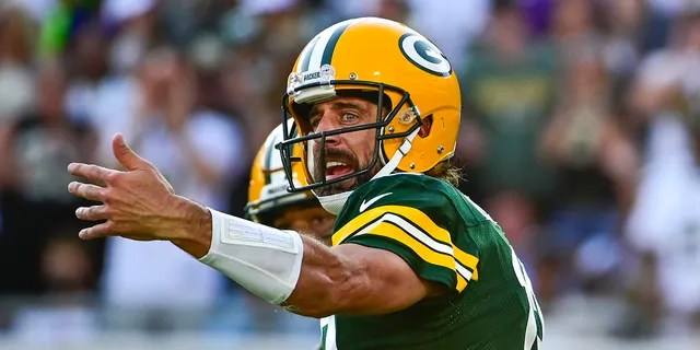 Sep 12, 2021; Jacksonville, Florida, USA; Green Bay Packers quarterback Aaron Rodgers (12) directs teammates during the second half against the New Orleans Saints at TIAA Bank Field. Mandatory Credit: Tommy Gilligan-USA TODAY Sports