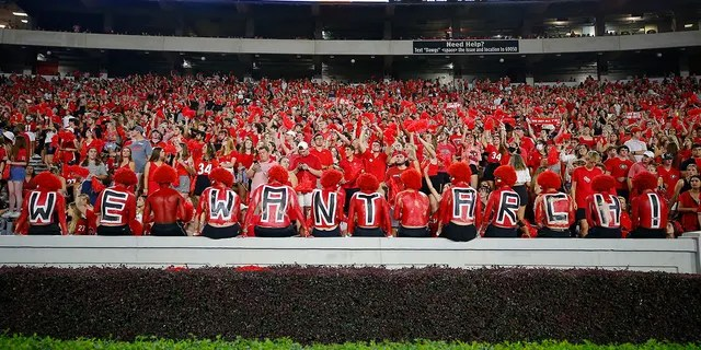 ATHENS, GA - SEPTEMBER 18: Georgia Bulldogs fans show their support for recruiting Arch Manning who attended during the game between the South Carolina Gamecocks and the Georgia Bulldogs at Sanford Stadium on September 18, 2021 in Athens, Georgia.