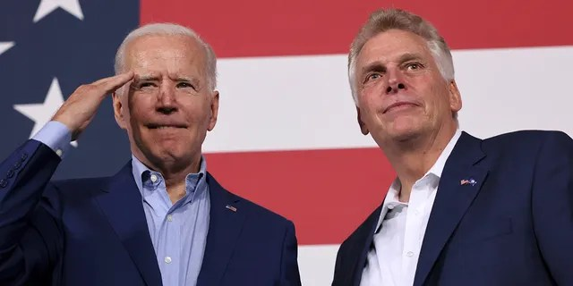 President Biden participates in a campaign event with candidate for Governor of Virginia Terry McAuliffe, at Lubber Run Park in Arlington, Virginia, July 23, 2021. REUTERS/Evelyn Hockstein