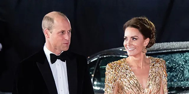 Prince William and Kate Middleton at the premiere of 'No Time to Die.' Middleton's dress echoed one worn by William's late mother Princess Diana at the 1985 premiere of 'A View to a Kill.'