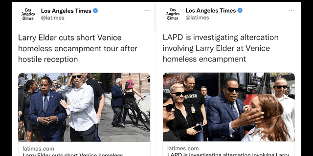 The Los Angeles Times came under fire for a pair of misleading tweets about Republican California gubernatorial candidate Larry Elder.
